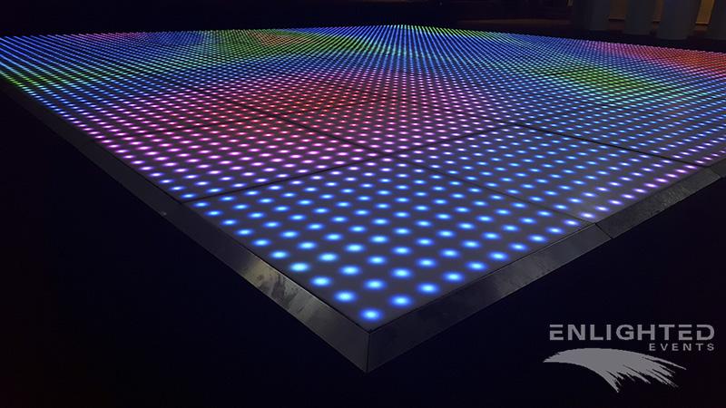 Verlichte dansvloer in verschillende kleuren